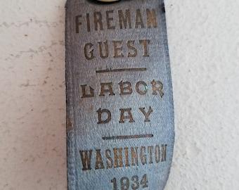 Vintage 1934 Fireman Guest Button Blue Ribbon Washington DC Labor Day