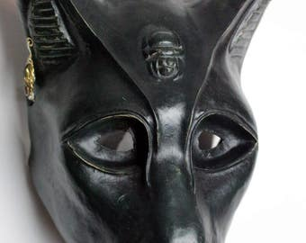 "Cat Goddess Mask ""Bastet"" (Black) ÷ Paper Mask"