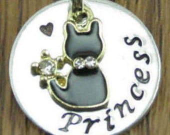 Pet Id Tag/Pet Tag/Cat Id Tag/Kitty Tag/Cat Collar Tag/Personalized Pet Tag,Princess Cat/Cat Tags/Custom Pet Tag