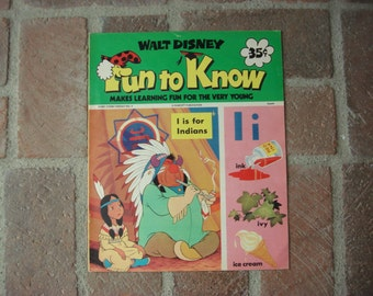 1973 Disney 'Fun to Know' Kids Magazine, Colorful Children's Booklet, Learning with Walt Disney Characters, Disneyana Collectible ~