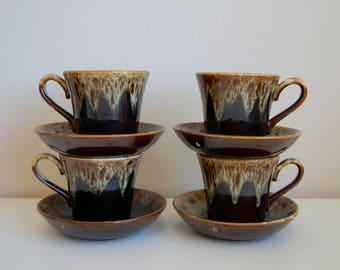 """Set of  Mid Century Drip Glaze Cups & Saucer/Bowls. """"Quaker Maid"""" by Harker China Co"""