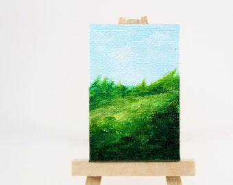 "Mini Abstract Landscape Painting, acrylic abstract, 2""x3"" mini canvas/tiny art/mini artwork/impressionist art/green painting/wall art/green"