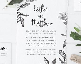 Printable Black and White Botanical Wedding Invitation suite, vintage botanical invitation, botanical drawing, wedding invitation, DIY print