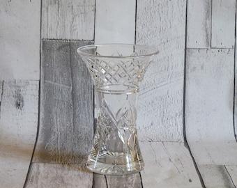 Vintage 1970s Cut Glass Flower Vase
