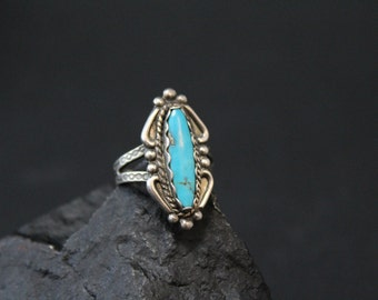 Sterling Silver Native American Navajo Hand Stamped Turquoise Ring
