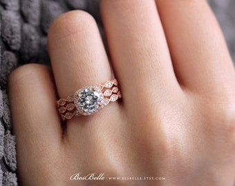 2.09 ct.tw Art Deco Bridal Set Ring-6.0mm Center-Halo Engagement Ring W/ Two Eternity Band Ring-Rose Gold Plated-Sterling Silver [5553RG-3]