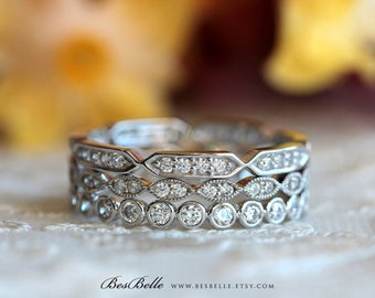 1.30 ct.tw Vintage Style Stack Ring-Full Eternity Ring-Art Deco Milgrain Center-Stackable Inspiration-Solid Sterling Silver [61630-3]
