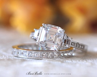 4.40 ct.tw Bridal Set Ring-Asscher Cut Main Engagement Ring W/ Full Eternity Wedding Band Ring-Anniversary Ring-Sterling Silver [61769-2A]