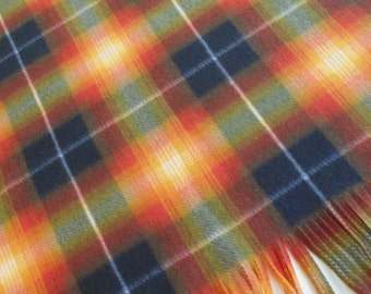 Tartan Blanket, Small Plaid Blanket, Dog Blanket, Orange, Yellow, Green & Black Tartan Blanket, Dog Bedding, Pet Blanket, Fleece Lap Blanket
