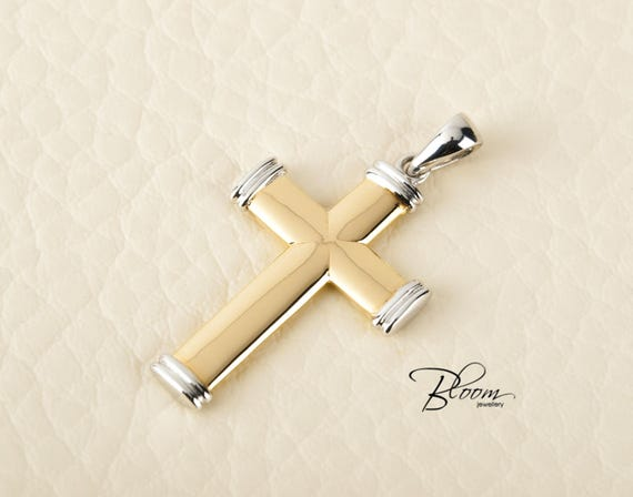 Mens gold cross pendant necklace for men cross pendant solid like this item aloadofball Gallery