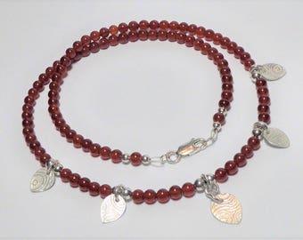 Carnelian and Fine Silver Leaf Necklace