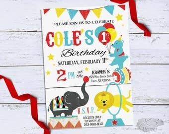 Circus Birthday Invitation, Printable Circus 1st Birthday Invitations, Carnival First Birthday Invitations, Circus Theme Party Invites