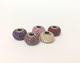 5 Swarovski Beads For Pandora Bracelets, European Beads Swarovski Charms Crystal, Pandora Style Charms for European Pandora Charm Bracelet
