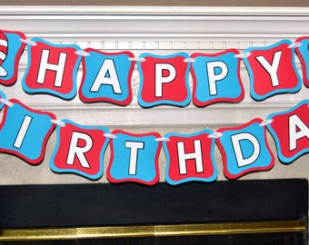 Dr. Seuss Happy Birthday banner, Cat in the Hat banner, Happy Birthday Banner, Personalized with name