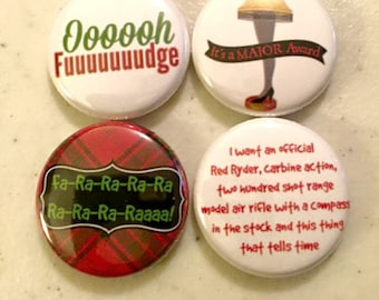 "A Christmas Story Pack 2 - Set of 4 - 1"" Pinback Buttons or Magnets"