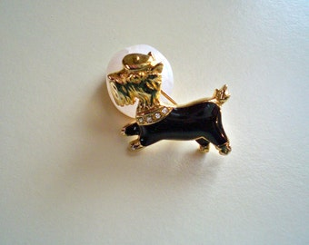 Vintage 1980's Gold Tone Scottie Terrier Dog Enamel Rhinestone Brooch