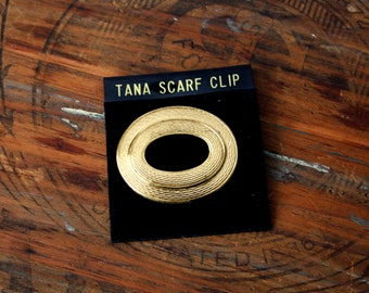 Tana Gold Scarf Clip Vintage West Germany Oblong Clip