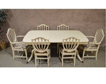 Vintage Mahogany Duncan Phyfe Style Shabby Dining Table w/6 Shield Back Chairs