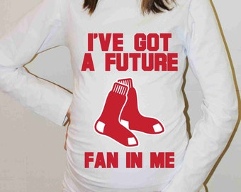 Boston Red Sox Shirt Boston Red Sox Baby Boy Baby Girl Baseball Long Sleeve Maternity Shirt Pregnancy Baby Shower