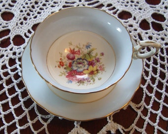 Signed Hammersley & Co - Made in England Bone China - Vintage Tea Cup and Saucer - Pale Blue Bands with Multiforal Centers with Gold Trim