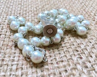 Bullet Necklace, 38 Special Necklace, Shell Casing Jewelry, Pearl Necklace, Bullet Jewelry, Recycled Necklace, Bullet Case Necklace