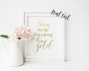 More Precious Than Gold - Nursery Art - Gold print - Baby Room Decor - Nursery Quote - Wall Print - Baby Nursery - Quote Print - Wall Art