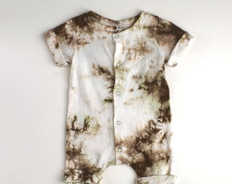 Cotton Rolled Hem Snap Front Romper Hand Dyed Camo Brown 3-6 Months