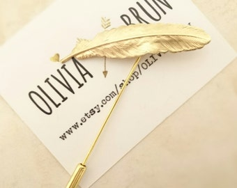 Gold Feather Stick Pin Feather Lapel Pin Feather Brooch Gold Lapel Pin Feather Jewelry Gold Brooch Mens Lapel Pin Suit Lapel Pin