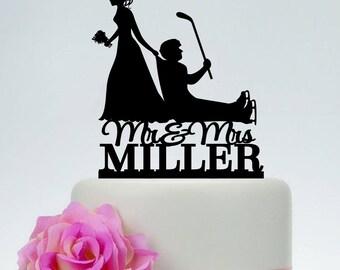 Wedding Cake Topper,Hockey Themed Ball Cake Topper,Bride Dragging Groom Cake Topper,hockey stick cake topper,Mr and Mrs Cake Topper C199
