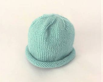 Baby Beanie Hand Knit, Wool Baby Hat - Robins Egg Blue (0-3 Months)