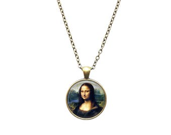 Mona Lisa Da Vinci necklace Antique portrait art pendant Vintage jewelry