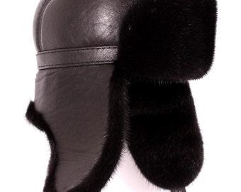 Men's hats made of mink fur, black