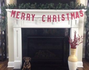 MERRY CHRISTMAS BANNER | Christmas Decoration | Red Christmas Banner | Christmas Garland | Christmas Photo Prop | Christmas Bunting
