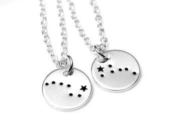 SET Two Disc Big Dipper Little Dipper Sterling Silver, Hand Stamped Constellation Necklace, Ursa Major, Zodiac Jewelry, Birthday Gift
