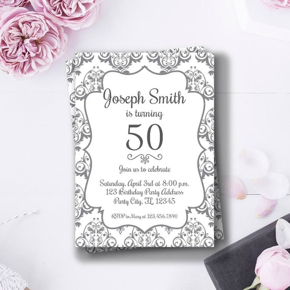 Favoloso Compleanno di 50 anni invito di compleanno elegante adulto HL95