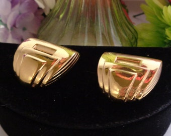 """Use Coupon 10OFF Art Deco Style GIVENCHY Paris New York Signed Square Clip-On Earrings. The Earrings Measure 1.25"""" Tall and Wide."""