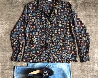 Womens Original 1970s Vintage Sheer Paisley Print Ruffle Shirt