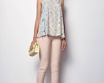 Flower print Tank Top, Summer Tank Top,  Offwhite top, Casual top- Soly -XL