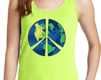 Ladies Peace Tanktop Blue Earth Tank Top BLUEEARTH-LPC54TT