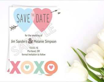 Colorful Save the Date Card, Colorful Save the Date Invitation, Printable Save the Date, Pastel Save the Date, Save the Date Invite
