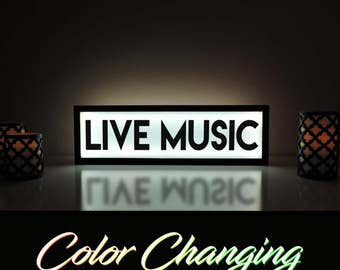 Live Music Sign, Live Music, Live Music Light, Business Sign, Light Up Sign, Bar Sign, Bar Decor, Music Room Sign, Ambient Light, Music Sign