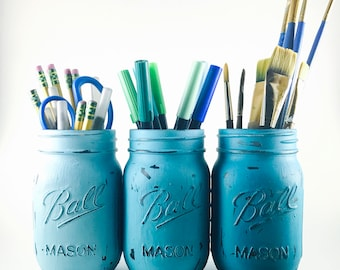Turquoise Ombre Shabby Chic Mason Jars - Set of 3 / Wedding Centerpieces, Desk Organizers, Bathroom Organizers, Vases, Home Decor