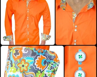 Bright Orange Men's Designer Dress Shirt - Made To Order in USA