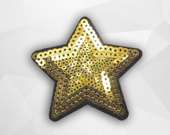 Gold Star Sequin Iron on Patch (M) - Sequin Star,Glitter Applique Iron on Patch - Size 7.0x7.0 cm