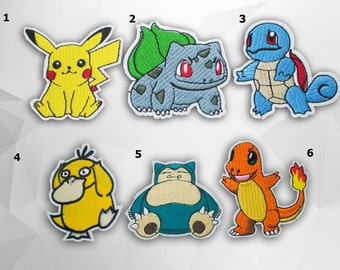 Pokemon Characters Iron on Patch(M2)-Pokemon, Pokeball, Pokemon Go Set Applique Embroidered Iron on Patch
