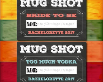 MUG SHOT Bachelorette Party, Photo Op Prop, Drinking, Wedding,Party Game, Party Supplies, Printable, Instant Download - TFD598
