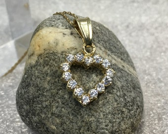 Open Heart 14K Gold Pendant , Solid Gold 14K ,Valentines Gold Heart and CZ Pendant, CZ heart pendant