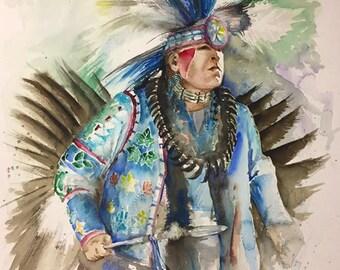 Sky Dancer, watercolor, pow wow dancer, Giclee