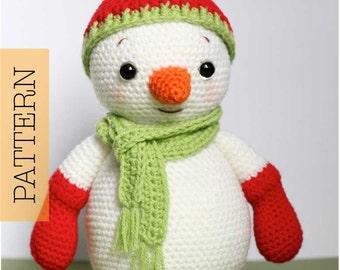 Crochet Amigurumi Snowman PATTERN ONLY, Happy, Christmas Snowman pdf Stuffed Toy Pattern
