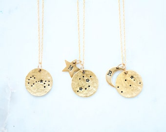 Zodiac Jewelry, Constellation Necklace, Zodiac Necklace,Celestial Jewelry,Personalized Necklace,Star Necklace,Moon Necklace,Gift for her